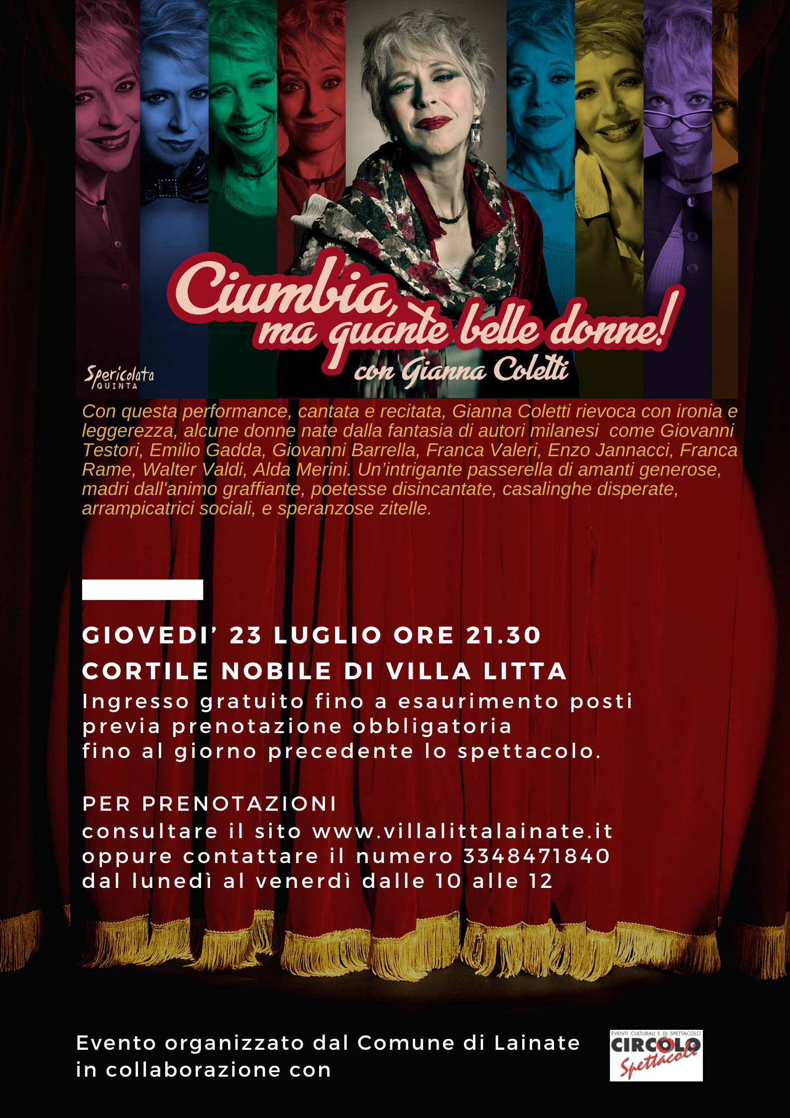"Teatro in Villa Litta | Gianna Coletti in ""Ciumbia ma quante belle donne!"